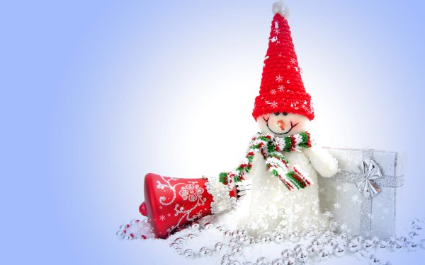 Holiday Christmas Snowman Bell Gift HD Wallpaper | Background Image