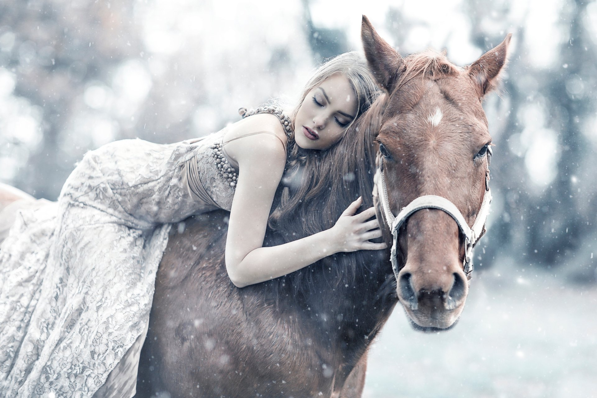 Women - Mood  Woman Model Girl Blonde Horse White Dress Bokeh Snowfall Wallpaper