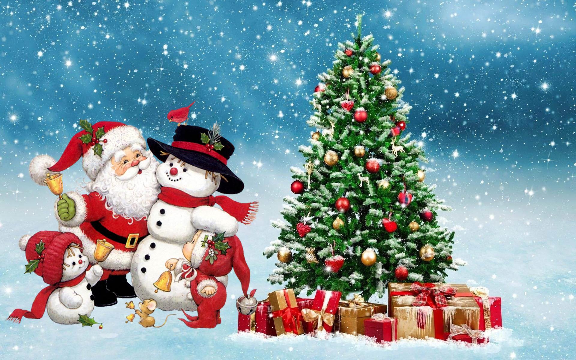 Holiday - Christmas  Holiday Santa Snowman Christmas Tree Snow Wallpaper