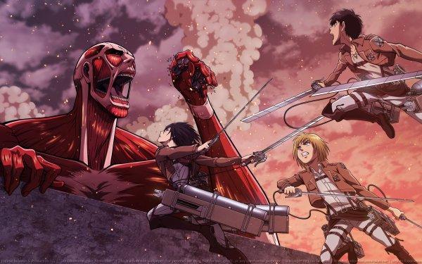 Anime Attack On Titan Mikasa Ackerman Eren Yeager Armin Arlert Shingeki No Kyojin HD Wallpaper | Background Image