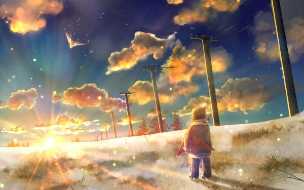 Anime Original Child Landscape Sunbeam Sky Cloud Bird Power Line HD Wallpaper | Background Image
