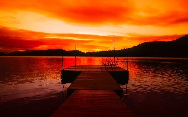 Photography Sunset Pier Red orange Lake Dusk HD Wallpaper | Background Image