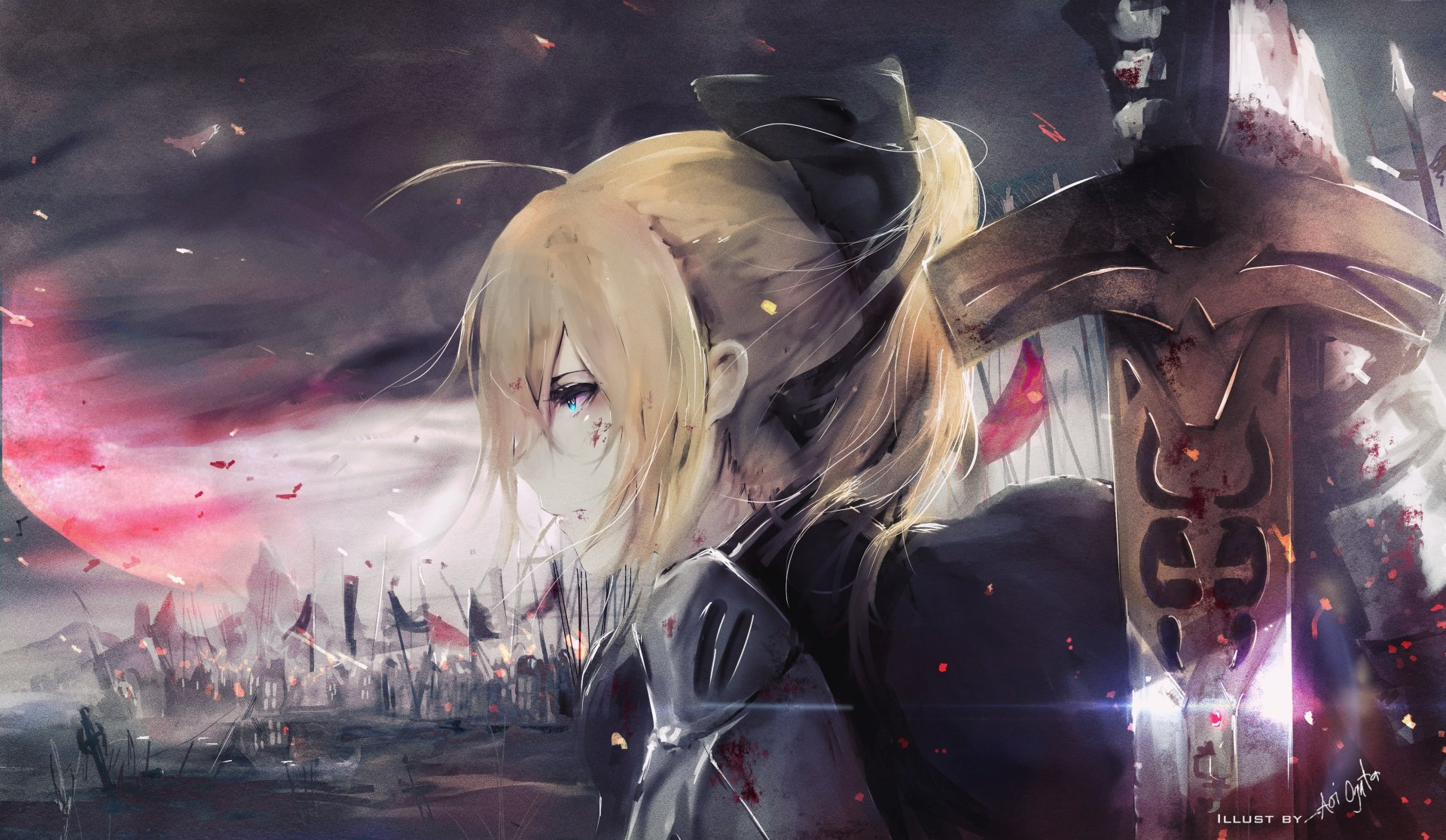 Anime - Fate/Stay Night  Saber (Fate Series) Aqua Eyes Blonde Armor Sword Woman Warrior Wallpaper