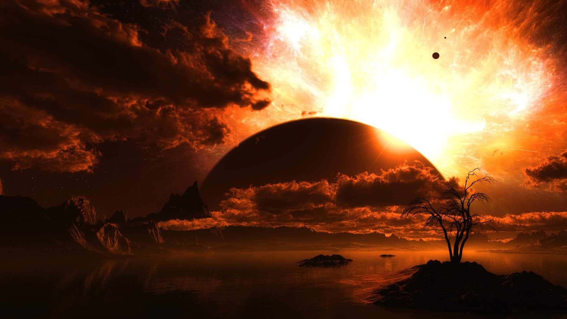Sci Fi - Planet Rise  Orange Planet Cloud Landscape Lake Wallpaper