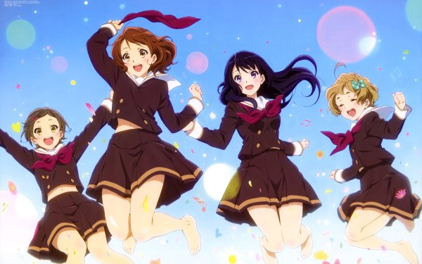 Anime Sound! Euphonium Hazuki Katou Sapphire Kawashima Reina Kousaka Kumiko Oumae Short Hair Brown Hair Brown Eyes School Uniform Skirt Long Hair Black Hair HD Wallpaper | Background Image