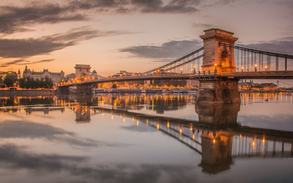 Man Made Chain Bridge Bridges Bridge Budapest Hungary River Danube Reflection Evening HD Wallpaper | Background Image