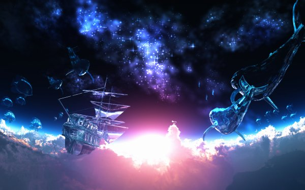 Anime Original Blue Black Fantasy Ship Whale Cloud Sun Fish Stars 3D CGI HD Wallpaper | Background Image