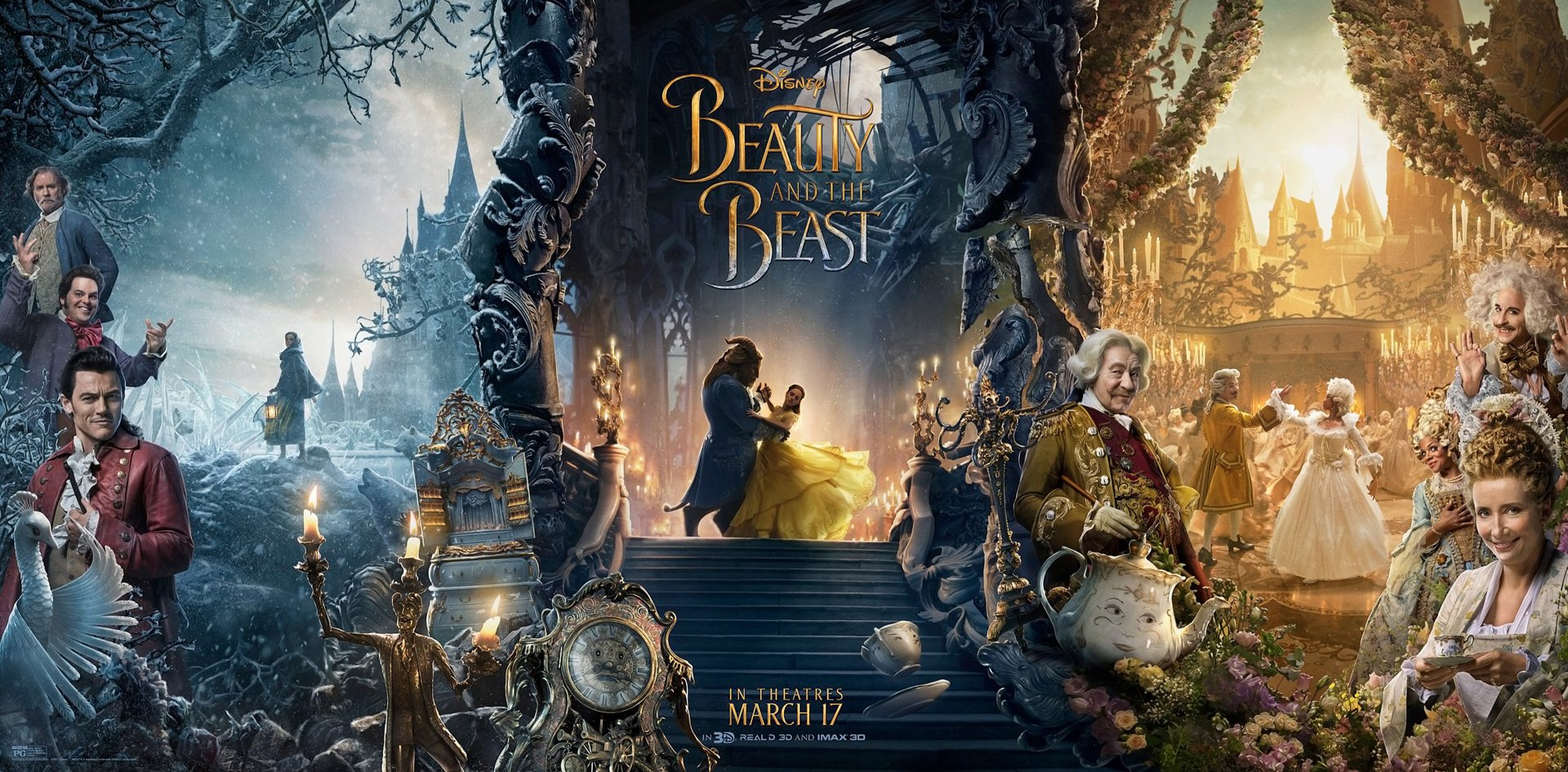 Movie - Beauty And The Beast (2017)  Emma Watson Ewan McGregor Ian McKellen Dan Stevens Luke Evans Emma Thompson Kevin Kline Josh Gad Gugu Mbatha-Raw Stanley Tucci Audra McDonald Wallpaper