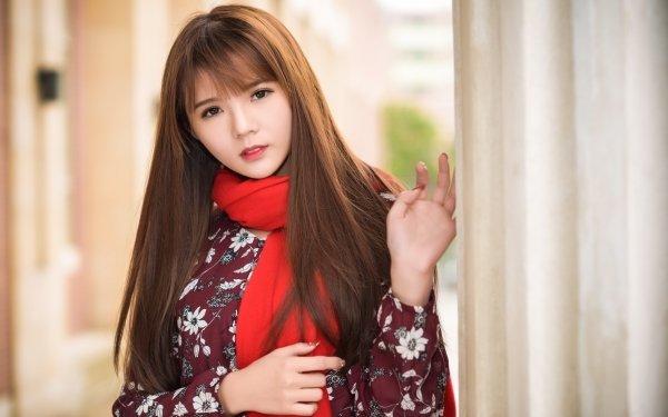 Women Asian Woman Model Brunette Brown Eyes Scarf HD Wallpaper | Background Image