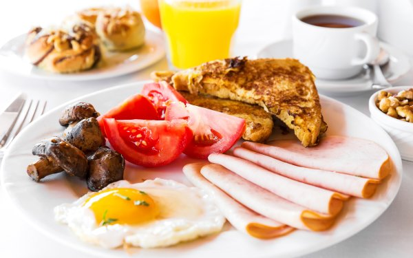 Food Breakfast Egg Tomato Mushroom Meat HD Wallpaper   Background Image