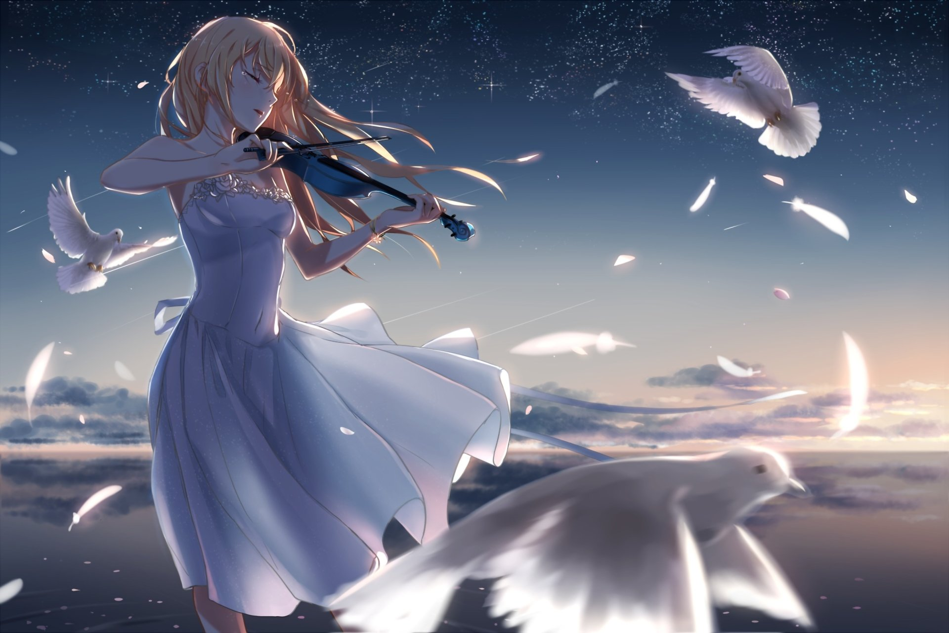 Anime - Your Lie in April  Blonde Dress Long Hair Violin Kaori Miyazono Wallpaper