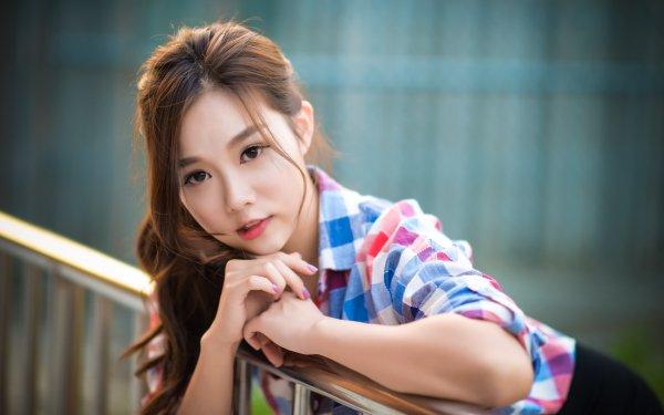 Women Asian Woman Model Brunette Brown Eyes HD Wallpaper | Background Image