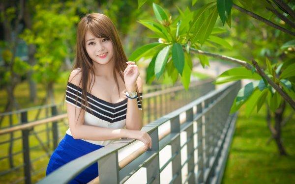 Women Asian Woman Model Brunette Brown Eyes Smile Depth Of Field HD Wallpaper | Background Image