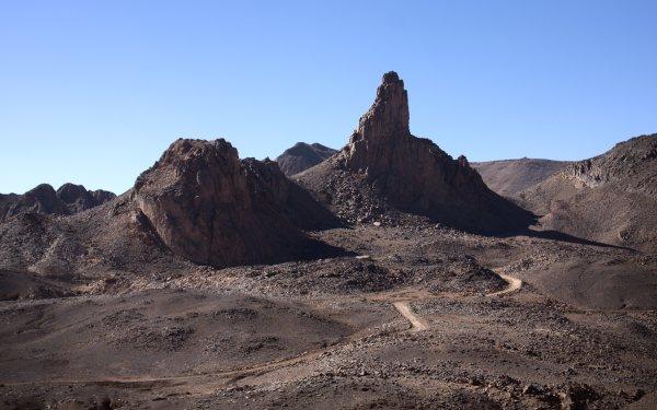 Earth Mountain Mountains Hoggar Mountains Tassili N'Ajjer Algeria Africa Assekrem Rock Road Desert Sahara Sunny HD Wallpaper   Background Image