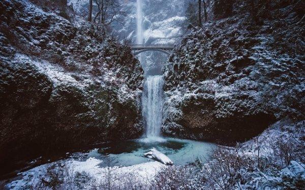 Earth Waterfall Waterfalls Nature Winter Rock Bridge Frozen HD Wallpaper | Background Image