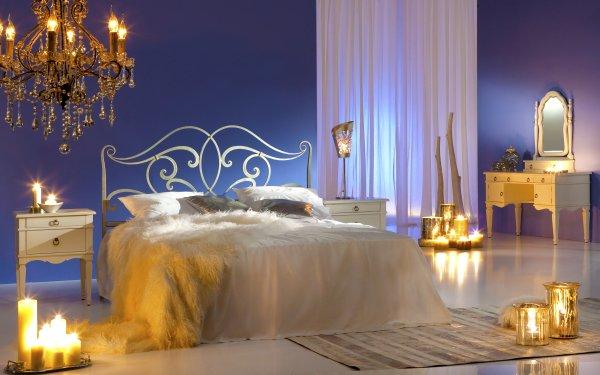 Construction Humaine Pièce Bedroom Meubles Lumière Chandelier Fond d'écran HD | Image