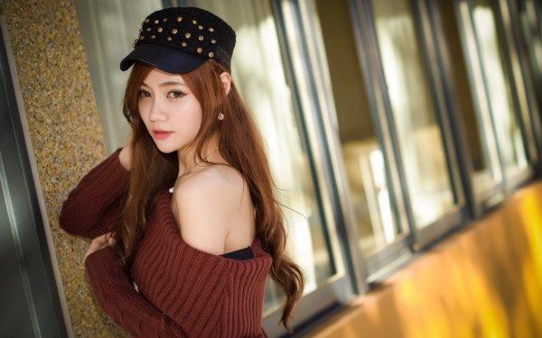 Kvinnor Asian Woman Model Redhead Cap HD Wallpaper | Background Image
