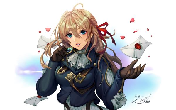 Anime Violet Evergarden Girl Blonde Blue Eyes HD Wallpaper   Background Image