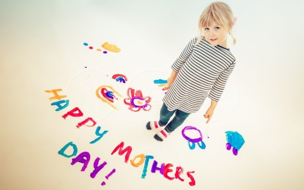 Día festivo Día de la Madre Niño Rubia Little Girl Fondo de pantalla HD | Fondo de Escritorio