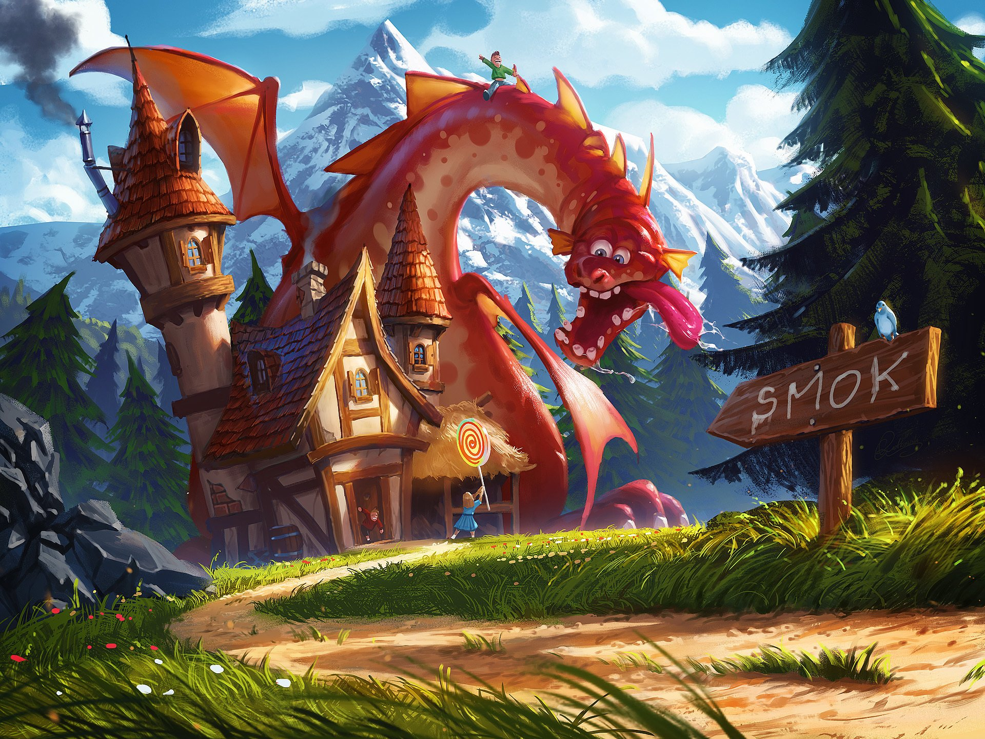 Fantasy - Dragon  House Lollipop Little Girl Wallpaper