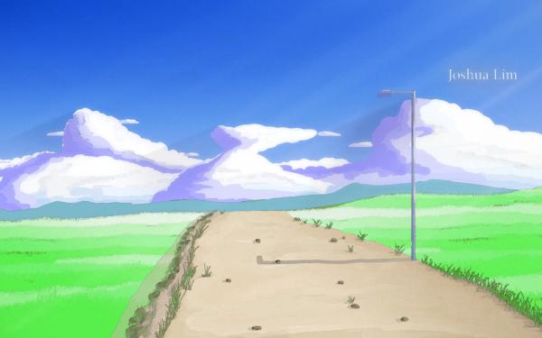 Anime Landscape Watercolor HD Wallpaper | Background Image