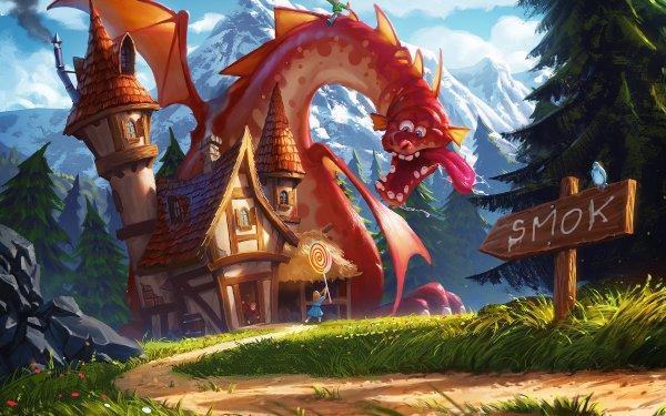 Fantasy Dragon House Lollipop Little Girl HD Wallpaper | Background Image