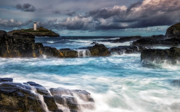 Photography Ocean Nature Lighthouse Rock Horizon Cloud Foam HD Wallpaper | Background Image