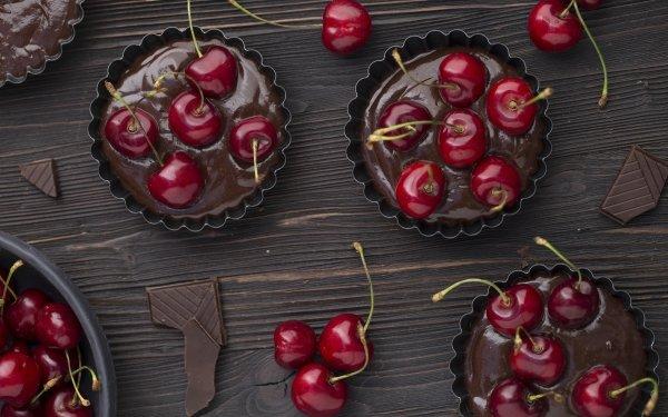 Food Dessert Still Life Cherry Chocolate Pastry HD Wallpaper | Background Image