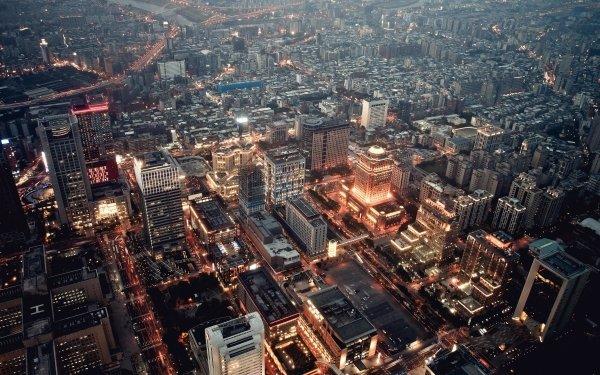 Man Made City Cities Light Urban Cityscape Building Skyscraper HD Wallpaper | Background Image
