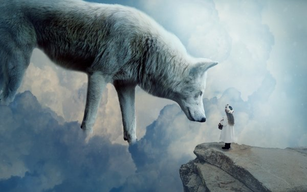 Fantasy Wolf Fantasy Animals White Wolf Little Girl Cliff Cloud HD Wallpaper   Background Image