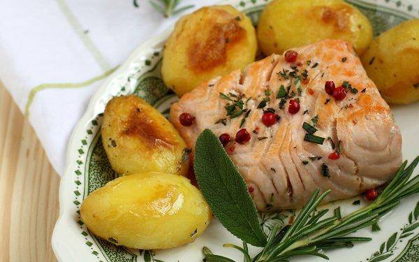 Food Fish Seafood Potato HD Wallpaper | Background Image