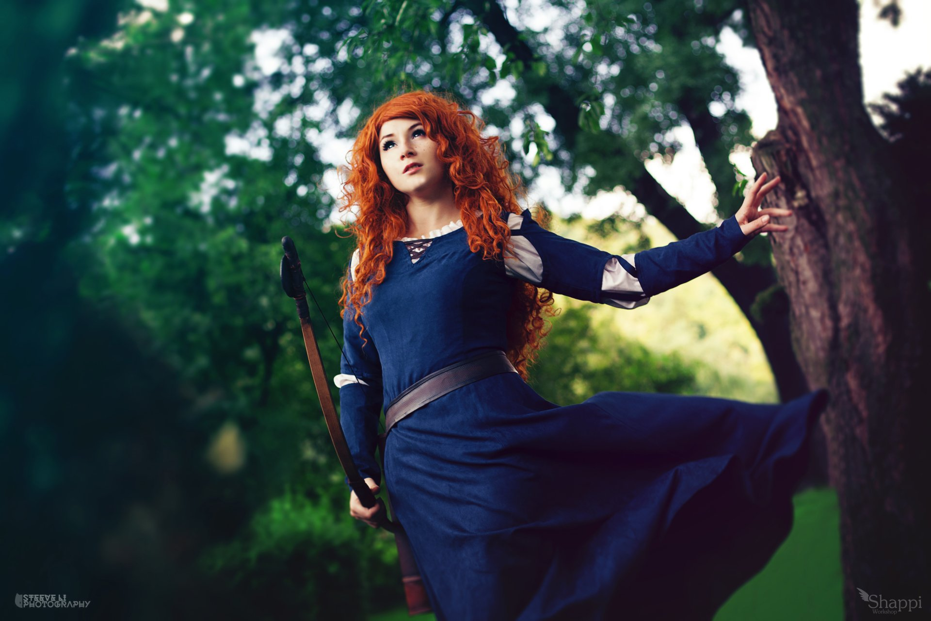Women - Cosplay  Brave (Movie) Merida (Brave) Woman Model Girl Redhead Bow Blue Dress Bokeh Wallpaper