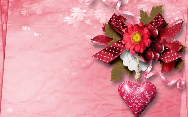 Artistic Heart Flower Ribbon Pink HD Wallpaper   Background Image