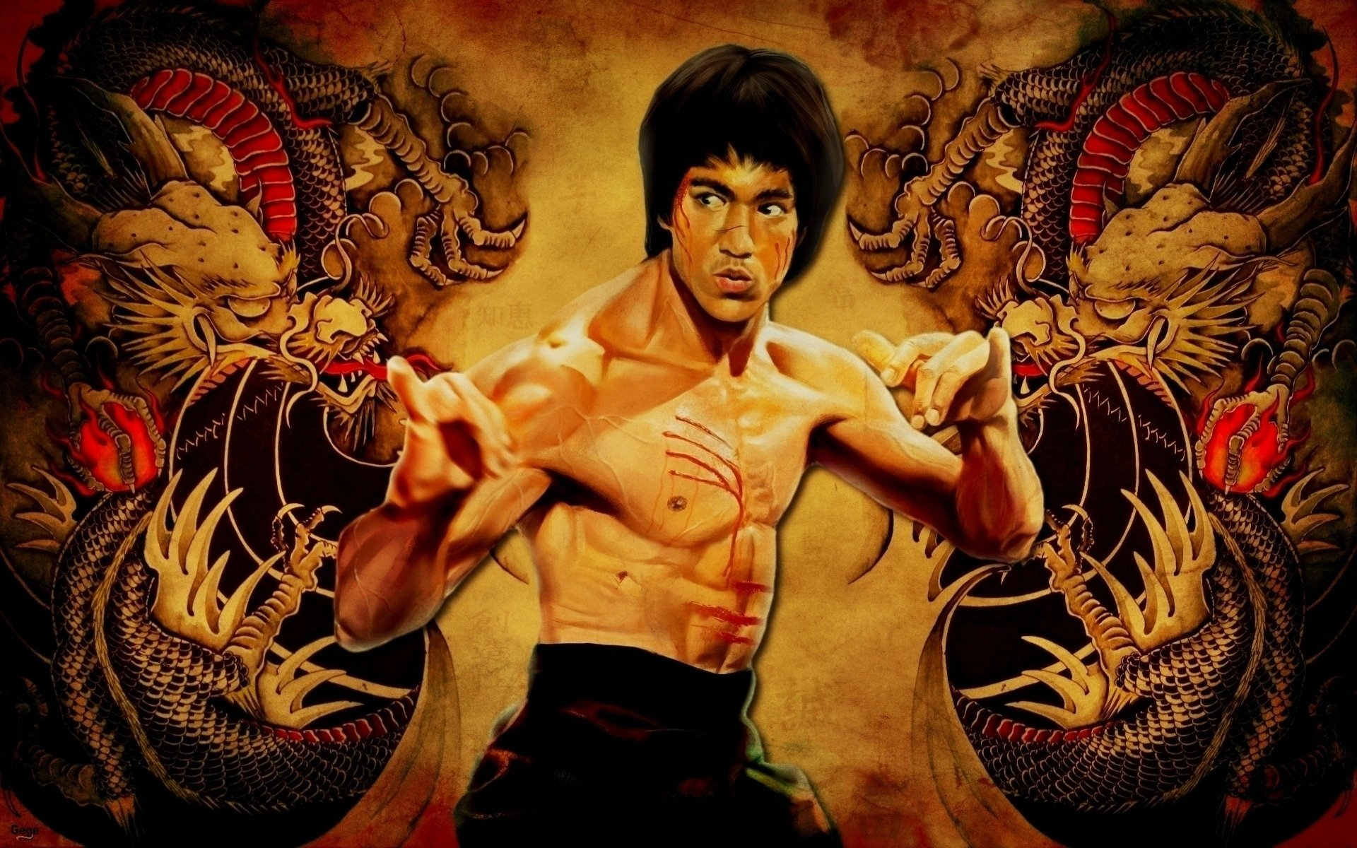 Celebrity - Bruce Lee  Dragon Artistic Wallpaper
