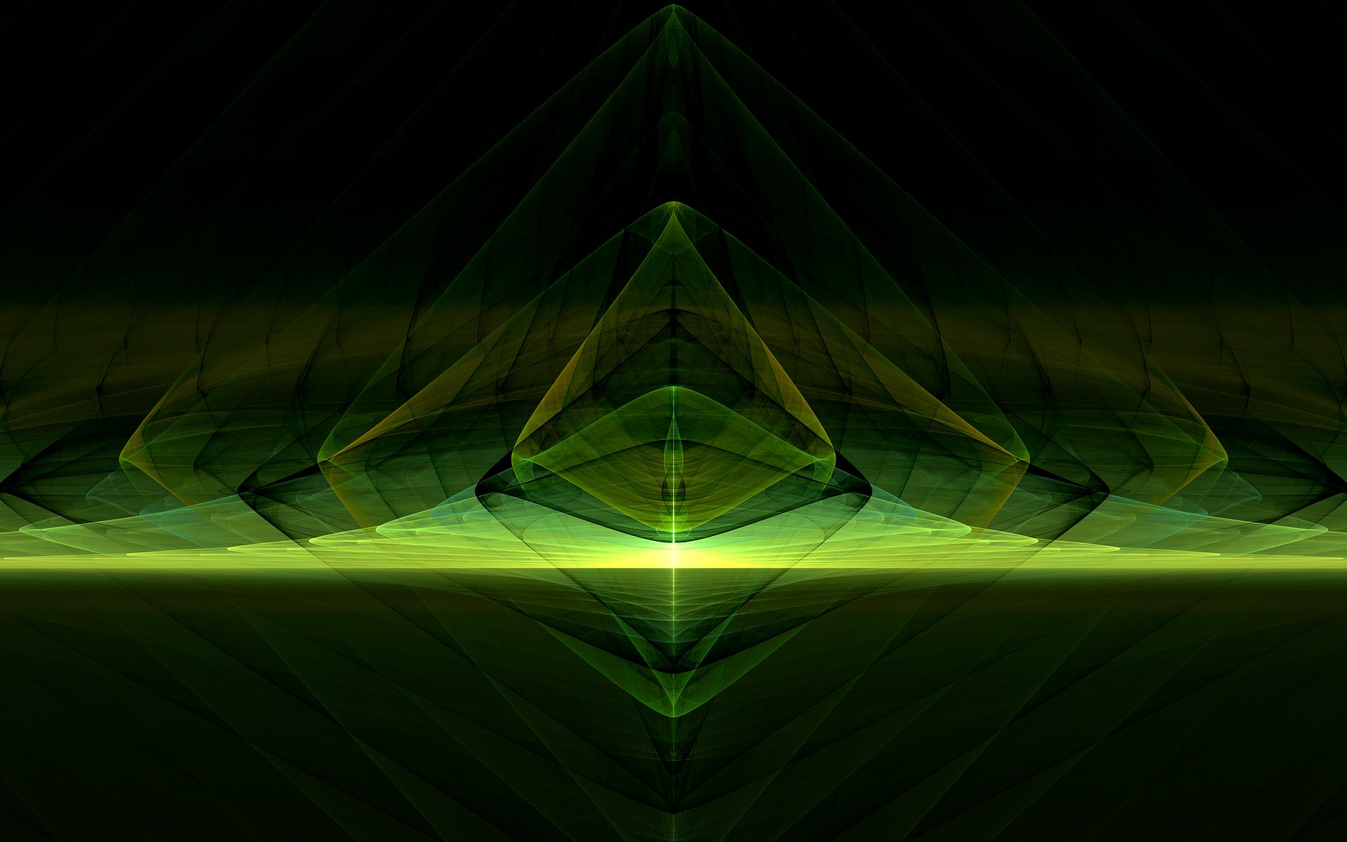 Abstract - Fractal  Green Lines Light Wallpaper