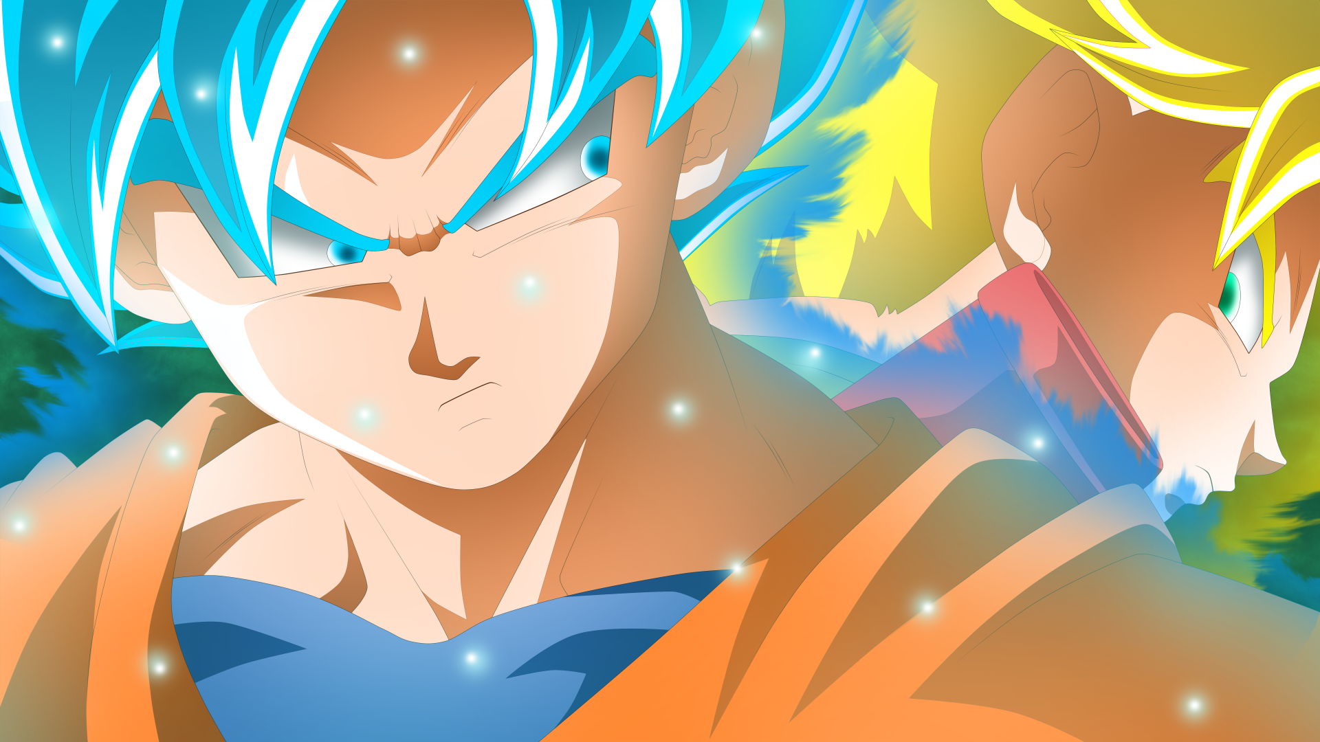动漫 - 龙珠超  Goku Trunks (Dragon Ball) Super Saiyan Blue 壁纸