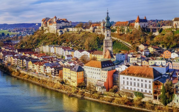 Man Made Town Towns City House River Bavaria Burghausen Germany HD Wallpaper | Background Image
