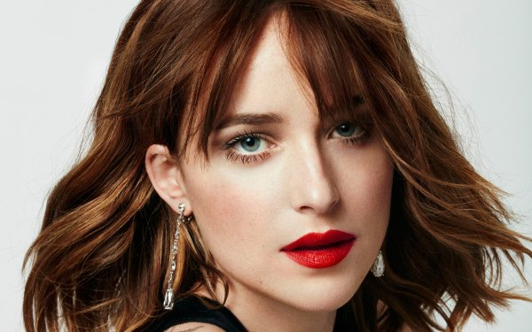 Celebrity Dakota Johnson Actresses United States Actress American Brunette Blue Eyes Face Lipstick HD Wallpaper | Background Image