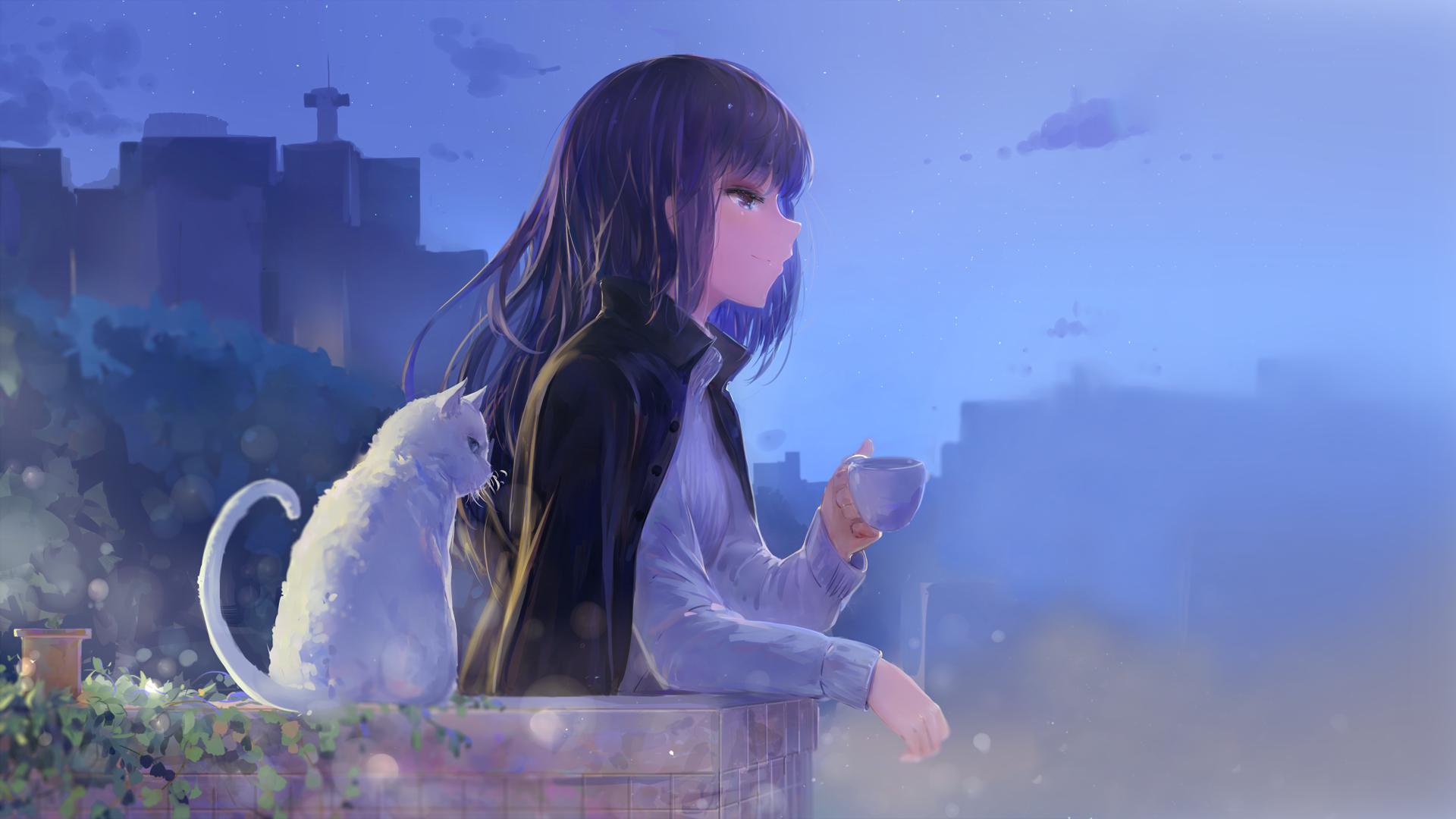Anime - Original  Cat Night Long Hair Purple Eyes Purple Hair Smile Wallpaper