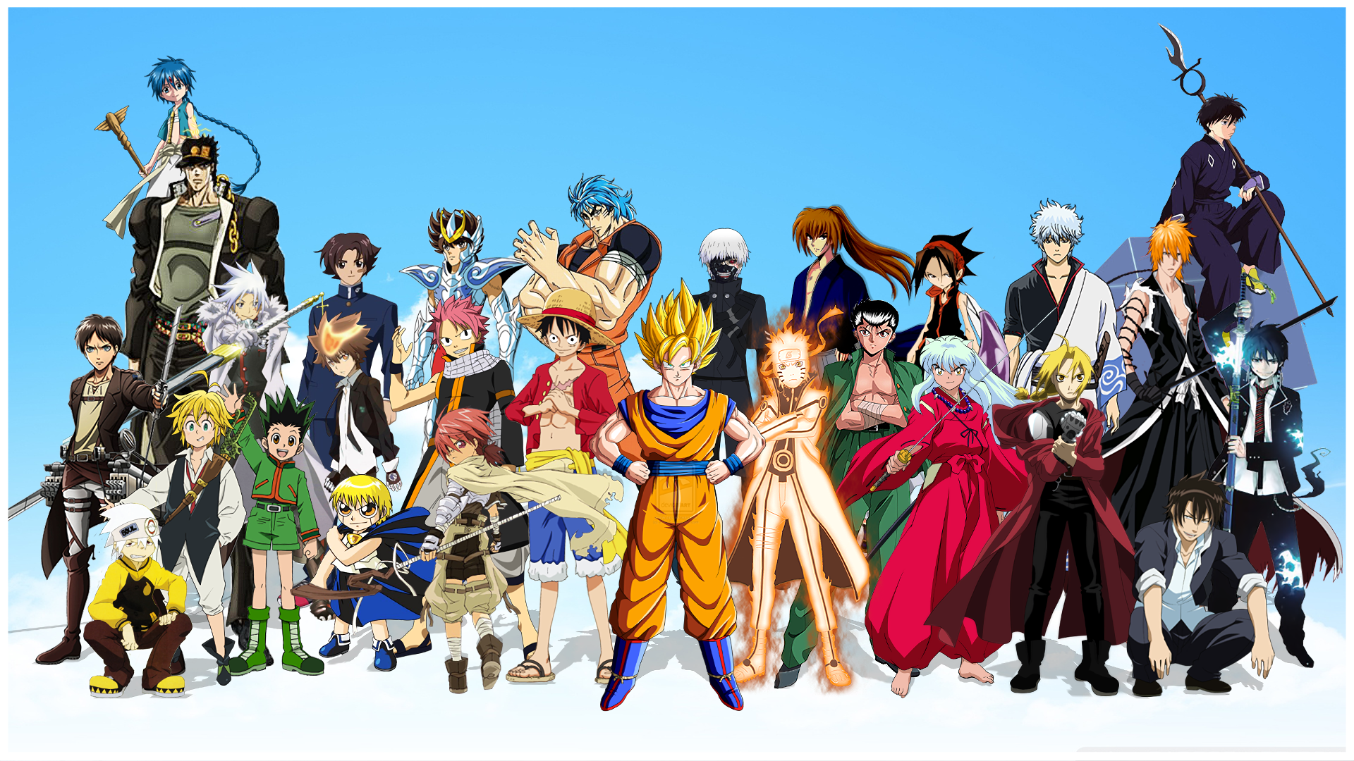 Anime - Crossover  Jojo's Bizarre Adventure One Piece Katekyō Hitman Reborn! The Seven Deadly Sins Nanatzu No Taizai Hunter × Hunter Attack on Titan Naruto Blue Exorcist Fairy Tail Edward Elric Magi: the labyrinth of magic Saint Seiya Shingeki No Kyojin Gon Freecss Zatch Bell Soul Eater Ao No Exorcist Tokyo Ghoul Anime Fullmetal Alchemist Bleach Dragon Ball Z Natsu Dragneel Ken Kaneki Gintoki Sakata Ichigo Kurosaki Rin Okumura Dragon Ball Goku Monkey D. Luffy Gintama InuYasha Naruto Uzumaki Toriko (Toriko) Eren Yeager Kenichi: The Mightiest Disciple Kenshin Himura Wallpaper