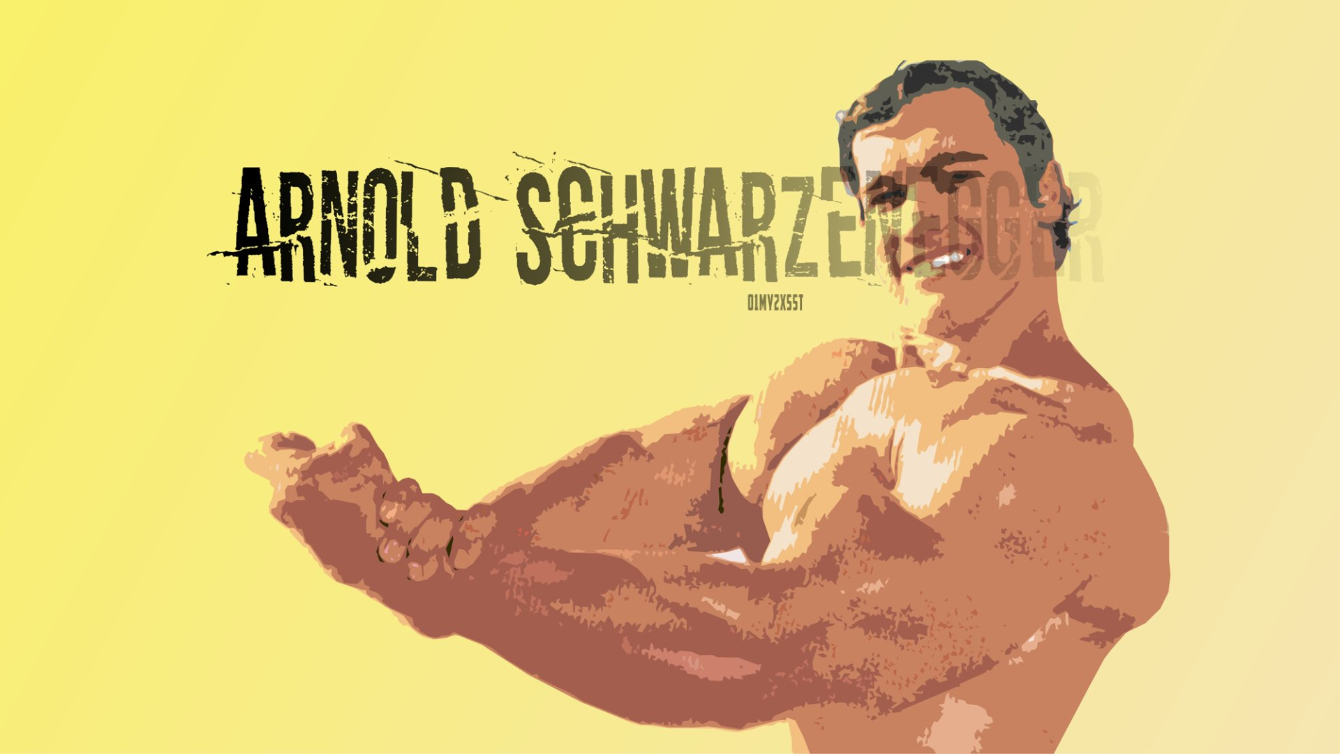 Celebrity - Arnold Schwarzenegger  Actor Bodybuilding Muscle Artwork Portrait Retro Wallpaper