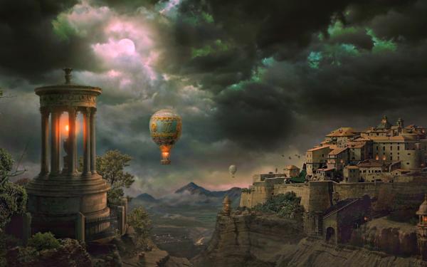 Artistic Fantasy City Landscape Hot Air Balloon House Cloud Moon HD Wallpaper   Background Image