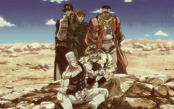Anime Jojo's Bizarre Adventure Jean Pierre Polnareff Iggy Joseph Joestar Jotaro Kujo Muhammad Avdol Noriaki Kakyoin HD Wallpaper | Background Image