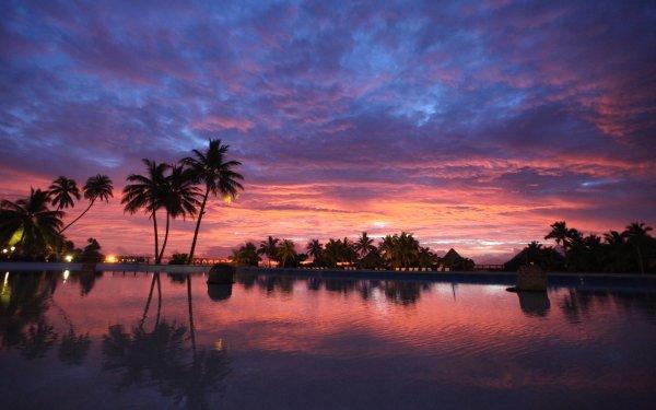 Photography Sunset Bora Bora Pool Resort Cloud Reflection HD Wallpaper   Background Image