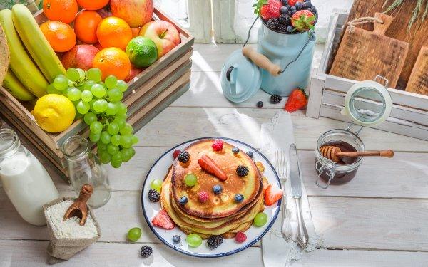 Alimento Desayuno Fruta Bodegón Panqueque Fondo de pantalla HD | Fondo de Escritorio