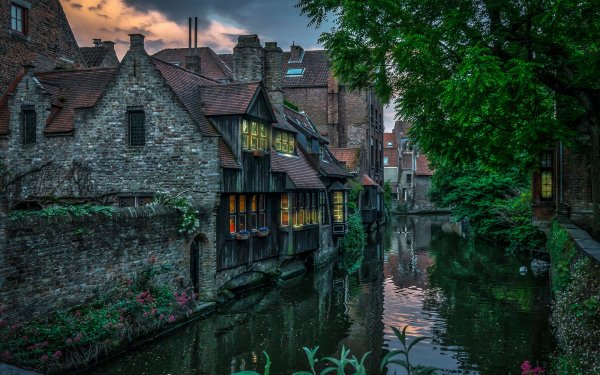 Man Made House Buildings Brick Canal Flower Brussels Belgium HD Wallpaper | Background Image