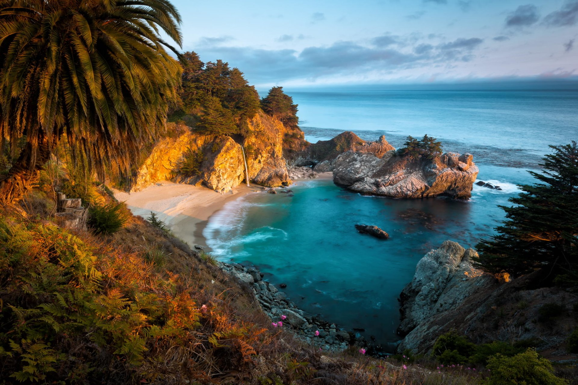 Earth - Coastline  Earth Bay Coast Ocean Sea Rock McWay Falls Julia Pfeiffer Burns State Park California Horizon Wallpaper