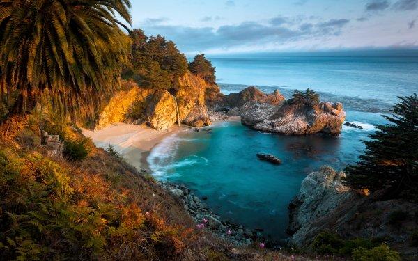 Earth Big Sur Bay Coast Ocean Sea Rock McWay Falls Julia Pfeiffer Burns State Park California Horizon HD Wallpaper   Background Image