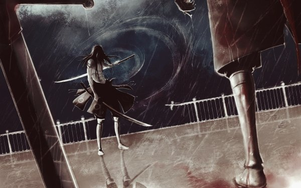 Anime Original Sword Weapon Rain Long Hair Warrior Blood Reflection HD Wallpaper | Background Image