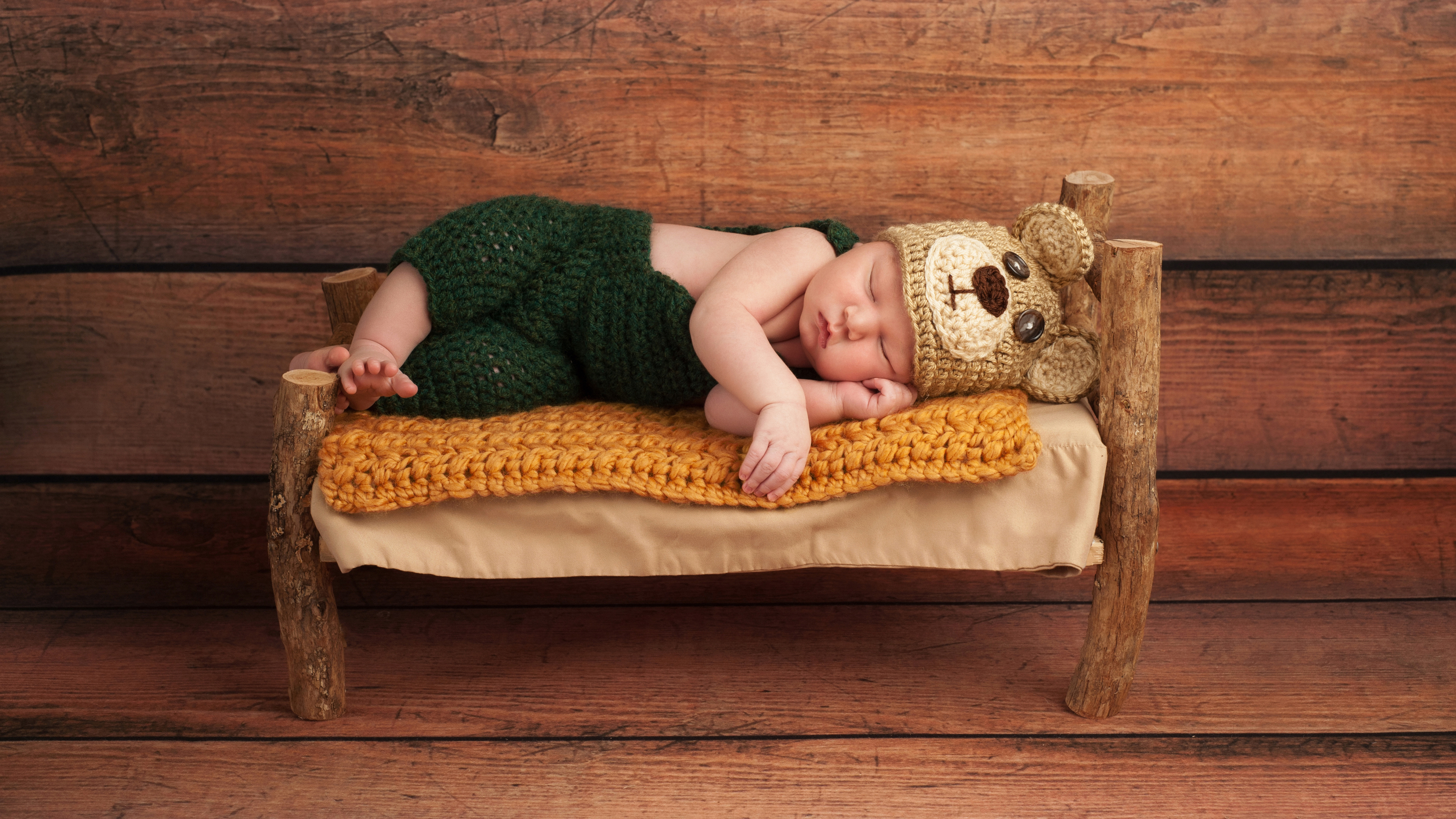 Tiny Bed newborn baby asleep on a tiny bed 4k ultra hd wallpaper and